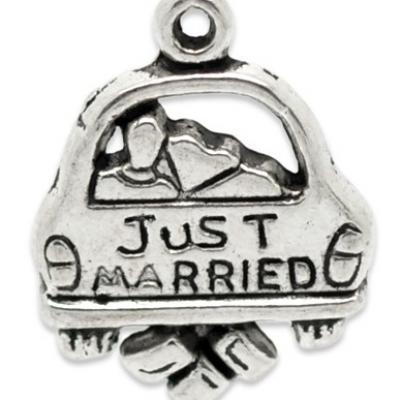 "Pendentif ""just married"" 20 x 16 / 2.5 mm argent vieilli"
