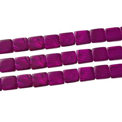 Perle Coquillage Naturel Carré 20 x 20 / 2,5 mm fuchsia violet