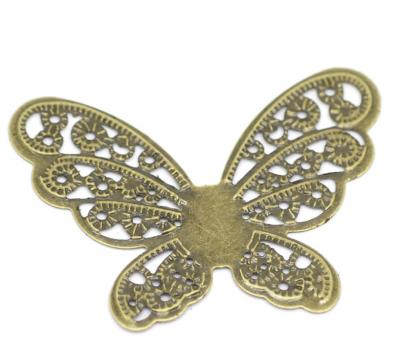 Estampe filigrane papillon 43 x 33 / 0.5 mm bronze