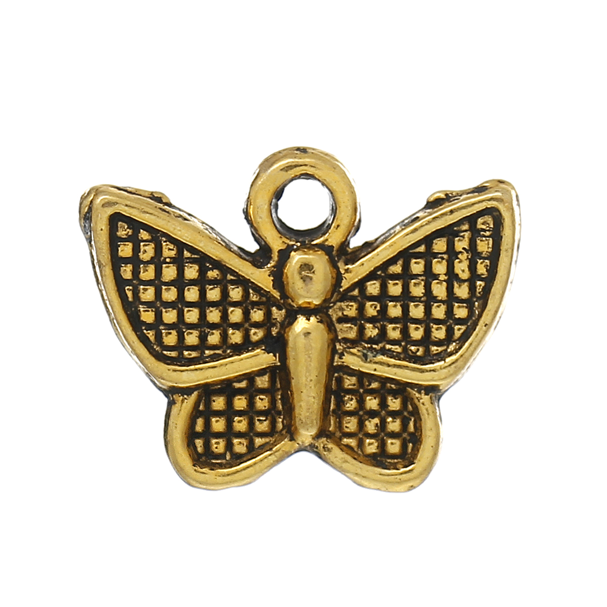 BRELOQUE PAPILLON QUADRILLE 13X10 MM DORE
