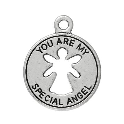 "Pendentif rond ange ""you are my special angel"" 22 x 18 / 1,5 mm argent vieilli"
