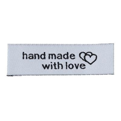 "Lot de 10 étiquettes tissées ""hand made with love"" 50 x 15 mm blanche"