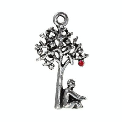 pendentif pommier email rouge