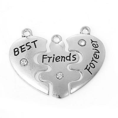 "Pendentif cœur ""best friends for ever"" + strass 27 x 14 / 3 mm argenté"