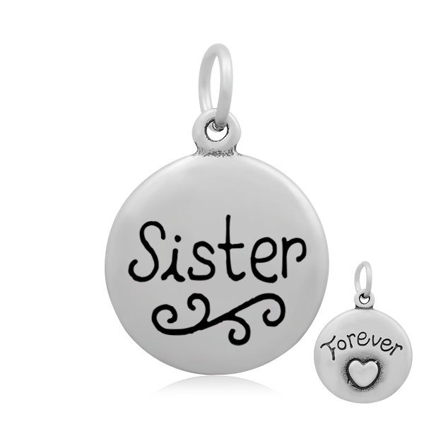 "Pendentif rond plat gravé ""sister for ever"" 26 x 18 mm inox + émail"