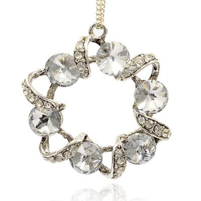 pendentif rond + strass cristal