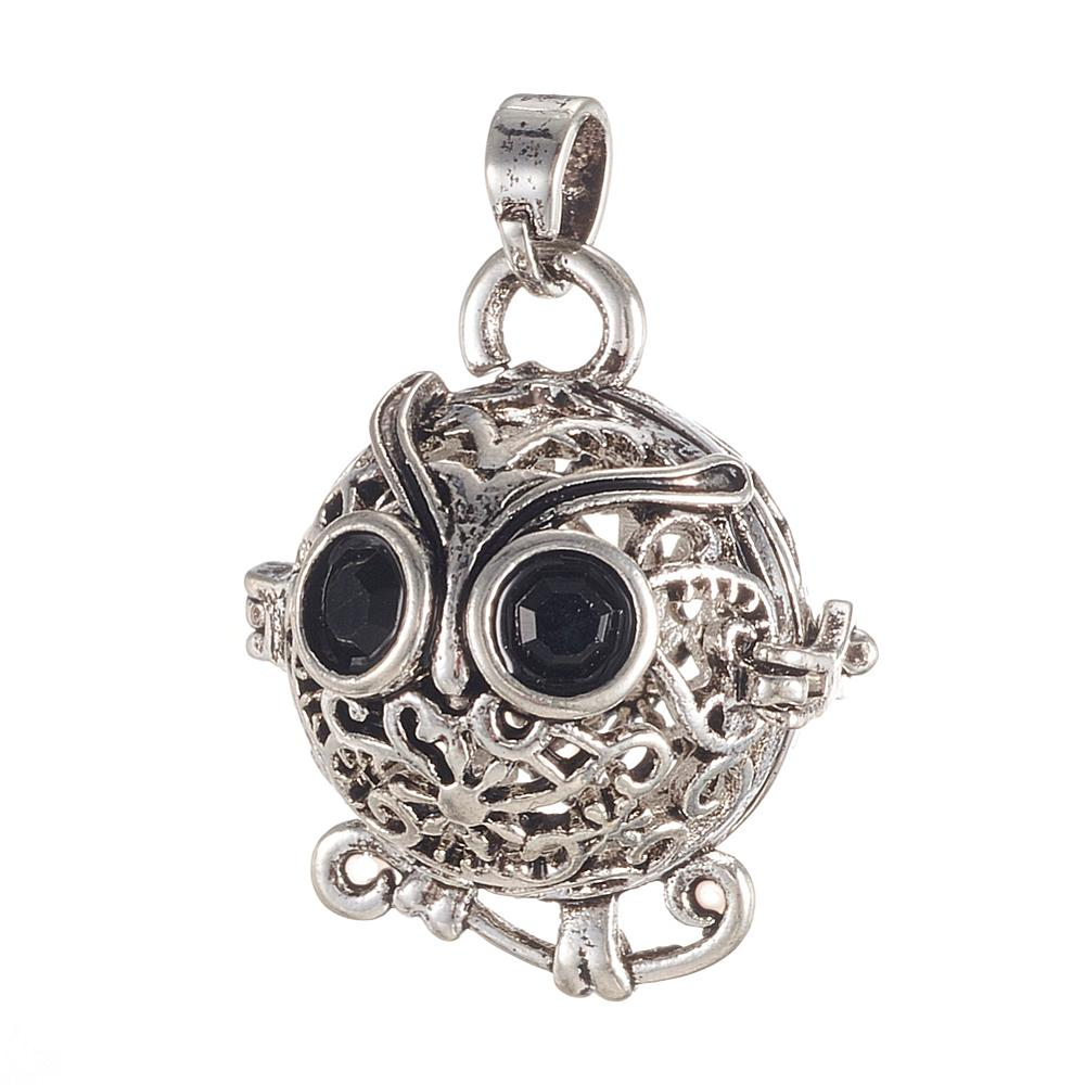 Pendentif bola chouette strass 22 x 19 mm argent vieilli